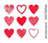 hearts set hand drawing. flat... | Shutterstock .eps vector #540758566