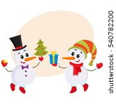 two cute snowman holding a... | Shutterstock .eps vector #540782200