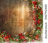 christmas border with bell ... | Shutterstock . vector #540792400