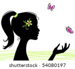beautiful girl silhouette with... | Shutterstock .eps vector #54080197