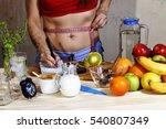 young woman measures. detox.... | Shutterstock . vector #540807349
