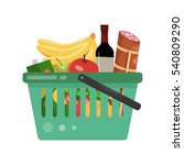 basket full of products. fruits ... | Shutterstock .eps vector #540809290