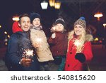 beautiful family with burning... | Shutterstock . vector #540815620
