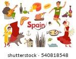 spain traditional symbols set...