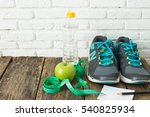 healthy concept sneaker apple... | Shutterstock . vector #540825934