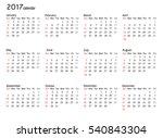 calendar for 2017 year on white ... | Shutterstock .eps vector #540843304
