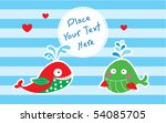 merry cute whale couple | Shutterstock .eps vector #54085705