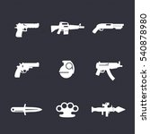 weapons icons set  pistol ...