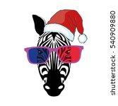 zebra in santa hat   vector ... | Shutterstock .eps vector #540909880