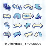 set of arrow doodle on paper... | Shutterstock .eps vector #540920008