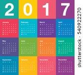 year 2017 calendar vector... | Shutterstock .eps vector #540922270