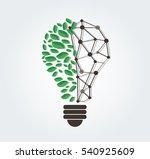 green leafs in light bulb shape ... | Shutterstock .eps vector #540925609
