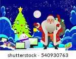 santa claus and christmas tree | Shutterstock .eps vector #540930763