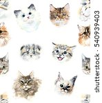 Stock photo seamless pattern with cats watercolor hand drawn illustration 540939403