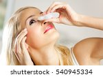 Young Woman Dripping Eyes At...