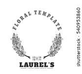 laurel logo wreath with hearts. ... | Shutterstock .eps vector #540953860