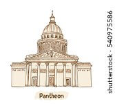 paris landmark. pantheon hand... | Shutterstock . vector #540975586