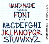 Hand Made Marker Font Vector