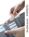 female hands taking out money... | Shutterstock . vector #54098251