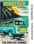 retro hawaii surf poster | Shutterstock .eps vector #540987814