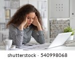 tired woman with laptop | Shutterstock . vector #540998068