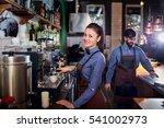 girl barista bartender waiter... | Shutterstock . vector #541002973