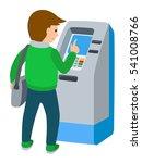 man using atm machine. vector... | Shutterstock .eps vector #541008766