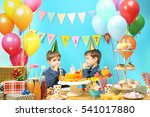 cute little twins celebrating... | Shutterstock . vector #541017880