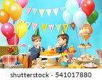 cute little twins celebrating...   Shutterstock . vector #541017880