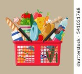red plastic shopping basket... | Shutterstock .eps vector #541021768
