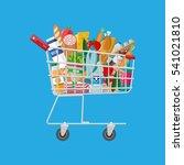 metal shopping cart full of... | Shutterstock .eps vector #541021810