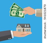 hands with money and house....   Shutterstock .eps vector #541021870