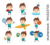 kid sportsman doing different... | Shutterstock .eps vector #541023733