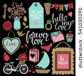 valentines day hand drawn ... | Shutterstock .eps vector #541030390