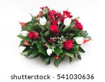 green funeral fir wreath with... | Shutterstock . vector #541030636
