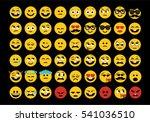 emoji set. face expressions... | Shutterstock .eps vector #541036510