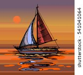 sailing boat vector color... | Shutterstock .eps vector #541041064