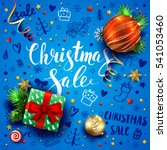 christmas sale template with... | Shutterstock .eps vector #541053460