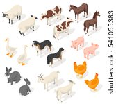 isometric 3d vector set of farm ... | Shutterstock .eps vector #541055383