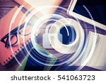 tablet coffee cup and other... | Shutterstock . vector #541063723