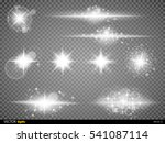 set  white glowing light burst... | Shutterstock .eps vector #541087114