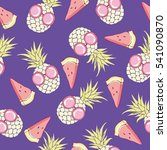 pineapple with glasses  pattern ... | Shutterstock .eps vector #541090870