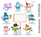 vector set of cute snowmen in... | Shutterstock .eps vector #541098538