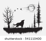 wolf howling at the moon in the ... | Shutterstock .eps vector #541110400