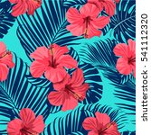 tropical flowers and palm... | Shutterstock . vector #541112320