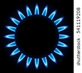 blue flames ring of kitchen gas ... | Shutterstock . vector #541119208