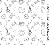 seamless sewing pattern. vector ... | Shutterstock .eps vector #541136200