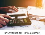 close up man doing finance and... | Shutterstock . vector #541138984