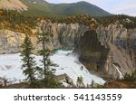 Nahanni National Park Reserve in the Northwest Territories of Canada - approaching the Virginia Falls at the Nahanni River,