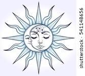 bohemian hand drawn sun and... | Shutterstock .eps vector #541148656